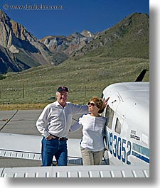 airplane, california, couples, devils postpile, hats, larry, men, mothers, mountains, planes, sierras, sunglasses, vertical, west coast, western usa, womens, photograph