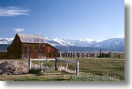 barn, california, horizontal, houses, land, mountains, sierras, snow, west coast, western usa, photograph