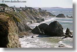 bodega bay, california, cliffs, coast, horizontal, houses, sonoma, west coast, western usa, photograph
