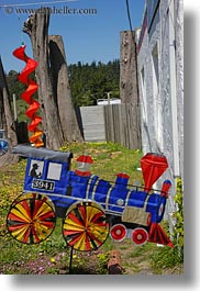 bodega bay, california, ornaments, sonoma, trains, vertical, west coast, western usa, wind, photograph