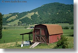 barn, buildings, california, green, hills, horizontal, small, sonoma, west coast, western usa, photograph