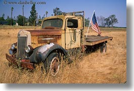 american, california, flags, horizontal, old, sonoma, trucks, west coast, western usa, photograph
