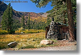 california, fireplace, horizontal, huts, stones, trees, virginia lakes, west coast, western usa, photograph