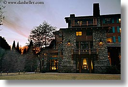 ahwahnee, buildings, california, dusk, historic, horizontal, hotels, lights, nature, sky, slow exposure, structures, sun, sunsets, west coast, western usa, yosemite, photograph