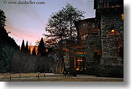 ahwahnee, buildings, california, dusk, historic, horizontal, hotels, lights, slow exposure, structures, west coast, western usa, yosemite, photograph