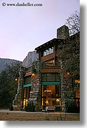 ahwahnee, buildings, california, dusk, historic, hotels, lights, slow exposure, structures, vertical, west coast, western usa, yosemite, photograph