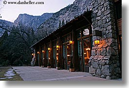 ahwahnee, buildings, california, dusk, historic, horizontal, hotels, lights, slow exposure, structures, style, west coast, western usa, yosemite, photograph