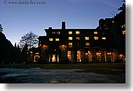 ahwahnee, buildings, california, horizontal, hotels, lights, nite, slow exposure, structures, west coast, western usa, yosemite, photograph
