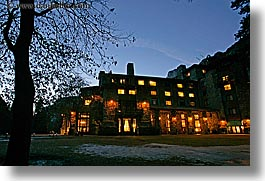 ahwahnee, buildings, california, horizontal, hotels, lights, long exposure, nature, nite, plants, silhouettes, structures, trees, west coast, western usa, yosemite, photograph