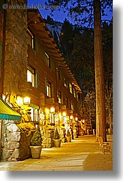 ahwahnee, buildings, california, hotels, lights, long exposure, nite, structures, vertical, west coast, western usa, yosemite, photograph
