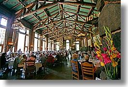 ahwahnee, california, dining, dining room, flowers, horizontal, hotels, rooms, west coast, western usa, yosemite, photograph
