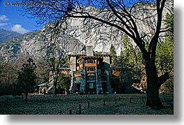 ahwahnee, buildings, california, horizontal, hotels, mountains, nature, plants, silhouettes, structures, trees, west coast, western usa, yosemite, photograph