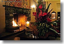 ahwahnee, buildings, california, fire, fireplace, flowers, horizontal, hotels, structures, west coast, western usa, yosemite, photograph