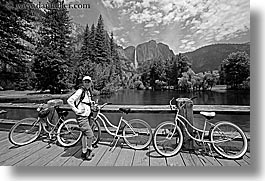 bicycles, bikes, black and white, bridge, california, falls, horizontal, jills, people, structures, transportation, waterfalls, west coast, western usa, womens, yosemite, photograph