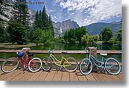 bicycles, bikes, bridge, california, colorful, horizontal, nature, structures, transportation, water, waterfalls, west coast, western usa, yosemite, photograph