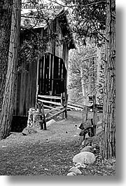 black and white, bridge, california, covered, materials, structures, vertical, west coast, western usa, woods, yosemite, photograph