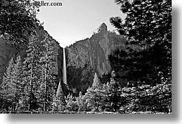 black and white, bridalveil, bridalveil falls, california, falls, horizontal, long exposure, nature, water, waterfalls, west coast, western usa, yosemite, photograph