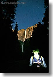 boys, california, chase, falls, long exposure, nature, nite, people, star trails, stars, teenagers, trees, vertical, water, waterfalls, west coast, western usa, yosemite, yosemite falls, photograph