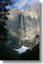 california, falls, nature, snow, trickle, vertical, water, waterfalls, weather, west coast, western usa, yosemite, yosemite falls, photograph
