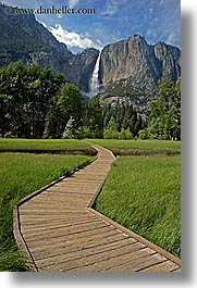 california, falls, nature, paths, planks, vertical, water, waterfalls, west coast, western usa, woods, yosemite, yosemite falls, photograph