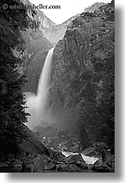 black and white, california, falls, nature, slow exposure, vertical, water, waterfalls, west coast, western usa, yosemite, yosemite falls, photograph