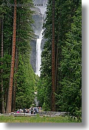 california, falls, nature, paths, trees, vertical, walkers, water, waterfalls, west coast, western usa, yosemite, yosemite falls, photograph