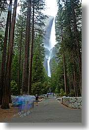 activities, california, falls, motion blur, nature, paths, slow exposure, trees, vertical, walk, walkers, water, waterfalls, west coast, western usa, yosemite, yosemite falls, photograph