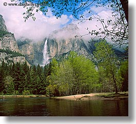 california, falls, horizontal, nature, rivers, trees, water, waterfalls, west coast, western usa, yosemite, yosemite falls, photograph
