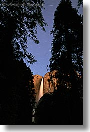 california, falls, nature, nite, sky, star trails, stars, trails, trees, vertical, water, waterfalls, west coast, western usa, yosemite, yosemite falls, photograph