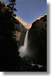 california, falls, long exposure, nature, nite, sky, star trails, stars, trails, trees, vertical, water, waterfalls, west coast, western usa, yosemite, yosemite falls, photograph