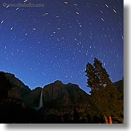 california, falls, nature, nite, sky, square format, star trails, stars, trails, trees, water, waterfalls, west coast, western usa, yosemite, yosemite falls, photograph