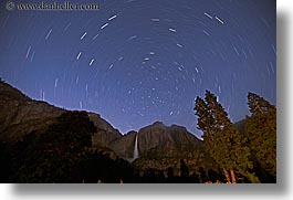 california, falls, horizontal, nature, nite, sky, star trails, stars, trails, trees, water, waterfalls, west coast, western usa, yosemite, yosemite falls, photograph