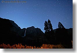 california, falls, horizontal, long exposure, nature, nite, sky, star trails, stars, trails, trees, water, waterfalls, west coast, western usa, yosemite, yosemite falls, photograph