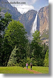 activities, california, couples, falls, nature, paths, people, vertical, walk, water, waterfalls, west coast, western usa, yosemite, yosemite falls, photograph