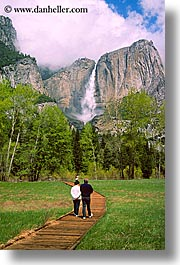 activities, california, couples, falls, nature, paths, people, trees, vertical, walk, water, waterfalls, west coast, western usa, yosemite, yosemite falls, photograph