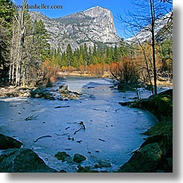 california, frozen, ice, lakes, mirror lake, mountains, nature, plants, square format, trees, water, west coast, western usa, yosemite, photograph