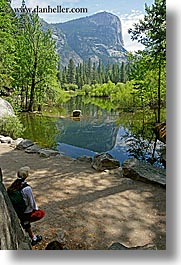 california, jills, lakes, mirror lake, mountains, nature, people, plants, reflections, trees, vertical, water, west coast, western usa, womens, yosemite, photograph