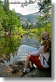 california, jills, lakes, mirror lake, nature, people, plants, reflections, trees, vertical, water, west coast, western usa, womens, yosemite, photograph