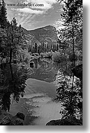 black and white, california, clouds, lakes, mirror lake, mountains, nature, reflections, trees, vertical, water, west coast, western usa, yosemite, photograph