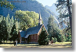 buildings, california, churches, crosses, horizontal, nature, plants, religious, structures, trees, west coast, western usa, yosemite, photograph
