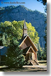buildings, california, churches, crosses, nature, plants, religious, structures, trees, vertical, west coast, western usa, yosemite, photograph