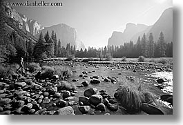 black and white, california, el capitan, horizontal, merced, mountains, nature, rivers, water, west coast, western usa, yosemite, photograph
