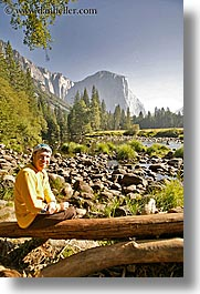 california, clothes, el capitan, hats, logs, men, merced, mountains, nature, people, plants, rivers, self-portrait, sunglasses, trees, vertical, water, west coast, western usa, yosemite, photograph