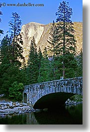 bridge, california, half dome, mountains, nature, people, plants, structures, trees, vertical, west coast, western usa, yosemite, photograph