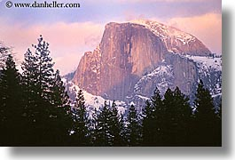 california, half dome, horizontal, mountains, nature, plants, sky, snow, snowcaps, sun, sunsets, trees, weather, west coast, western usa, yosemite, photograph