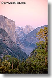 california, half dome, mountains, nature, sky, sun, sunsets, trees, valley, vertical, west coast, western usa, yosemite, photograph