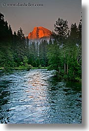 california, half dome, mountains, nature, rivers, sky, sun, sunsets, vertical, water, west coast, western usa, yosemite, photograph