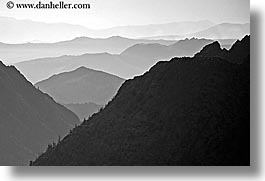 black and white, california, horizontal, layered, mountains, nature, west coast, western usa, yosemite, photograph