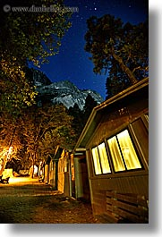 cabins, california, long exposure, nature, nite, sky, star field, stars, vertical, west coast, western usa, windows, yosemite, photograph