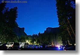 california, cars, curry village, horizontal, long exposure, nature, nite, parking, sky, star field, stars, west coast, western usa, yosemite, photograph